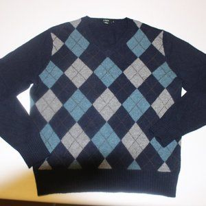 J Crew 100% lambs wool argyle sweater